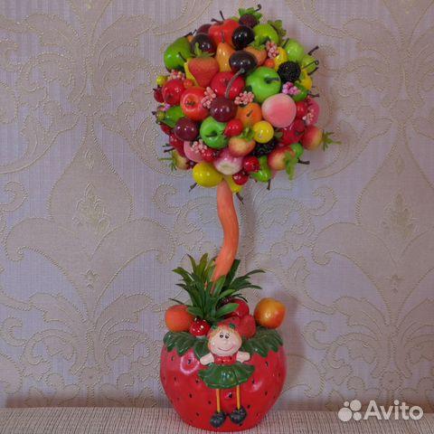 Топиарий из цветов и фруктов своими руками фото 83