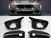 Накладки на зеркала М стиль BMW 5 G30 черн. глянец