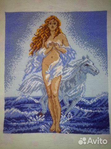 Вышивка крестиком девушка с лошадью