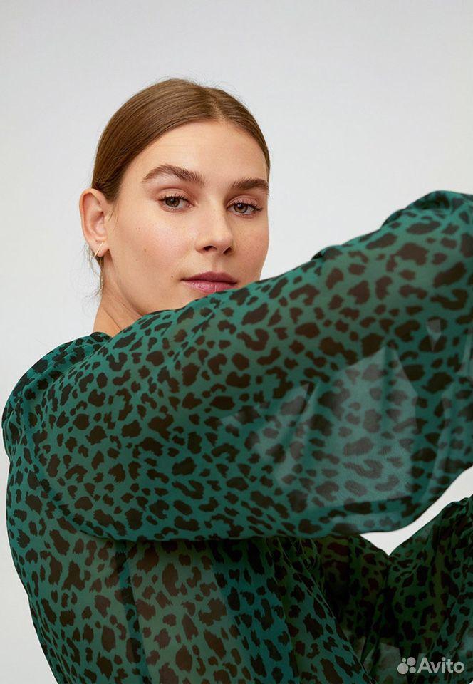 Новая блуза зеленая -принт лео mango  89170473472 купить 2