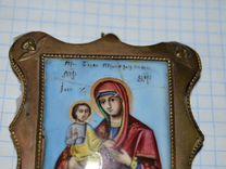 Старинная икона Пр.Богородица Троеручница.Финифть